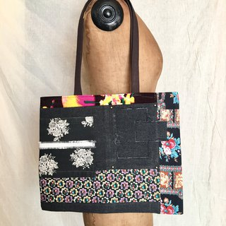 totebag / vintage flower pattern tote bag tf-335