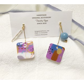 Ayre's summer girl's seaside hand-painted square ear clips / earrings earrings