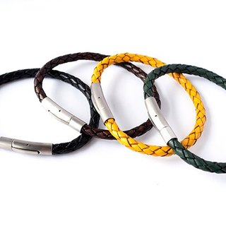 Handsome woven leather bracelet / wire / beads / leather material / handmade /