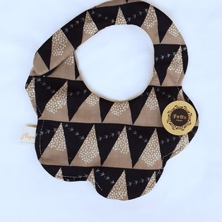 Gujia Yuezi designer cloth - triangle geometry - black - eight layer yarn 100% cotton arc shape bib