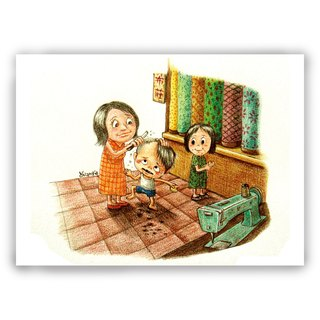 Hand-painted illustration mother card / universal card / card / postcard / illustration card - memories of childhood memories childhood cut release Zhuang Tailor car mother love