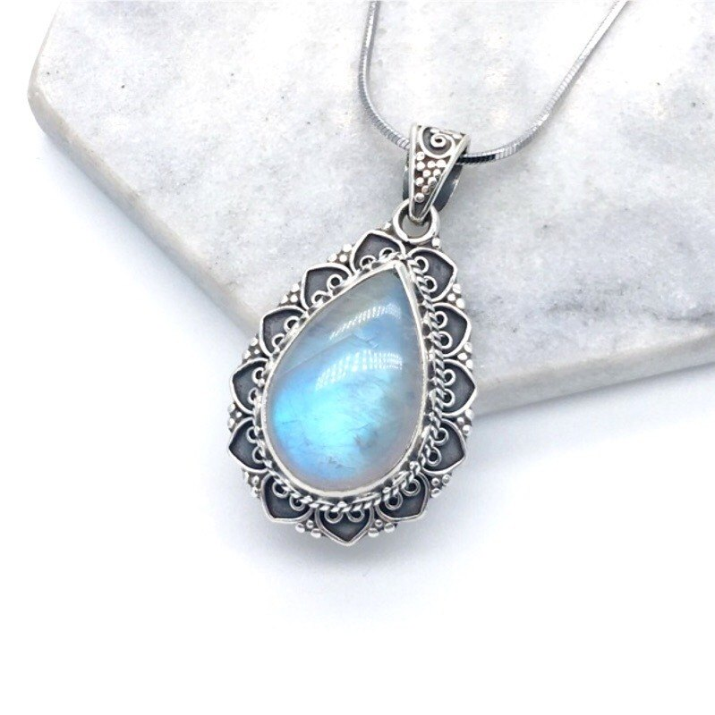 Moonlight stone 925 sterling silver water drop heavy industry classical style necklace Nepal hand mosaic production (style 2)
