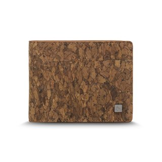 CORCO coin pocket cork short clip - block grain brown