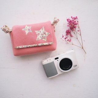Star activity buckle with camera bag zipper + (orange red + pink flower f02)
