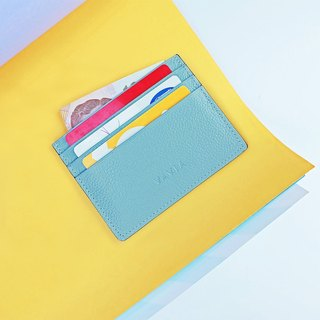"""Milky Blue"" Cow Leather Card Holder"