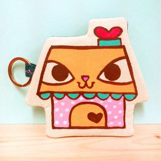 Original home brand love factory Cat House hand-painted hand-made quilts multi-purpose purse / key bag / leisure card Octopus card business card bag / storage bag