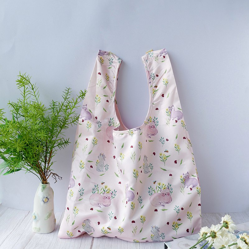 Shopping bag | Pink | Cat and rabbit
