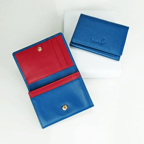 Navy Blue & Red Trim: Mini Purse / Cow Leather