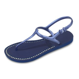 Lace-up Sandals Foot Slim Long Sapphire Blue Swarovski Crystal
