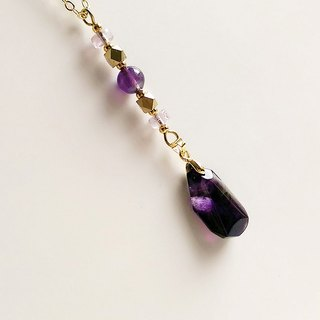 [Gemstones] low-key light natural ore amethyst irregular section brass • pendant necklace