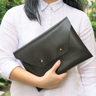 LARGE Dark Brown Leather Envelope Clutch, Bridesmaid clutch, leather bag