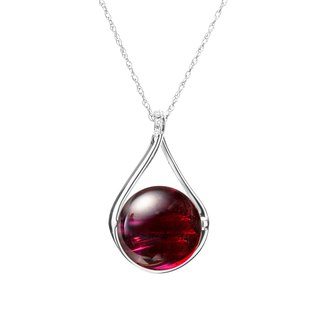 Garnet Necklace in 14k White Gold with Diamonds, January Birthstone Pendant