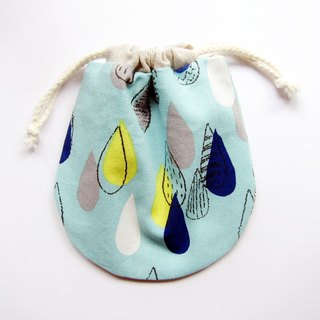 Drawstring pouch bags were hand-painted small raindrops (also choose other purse fabric patterns)