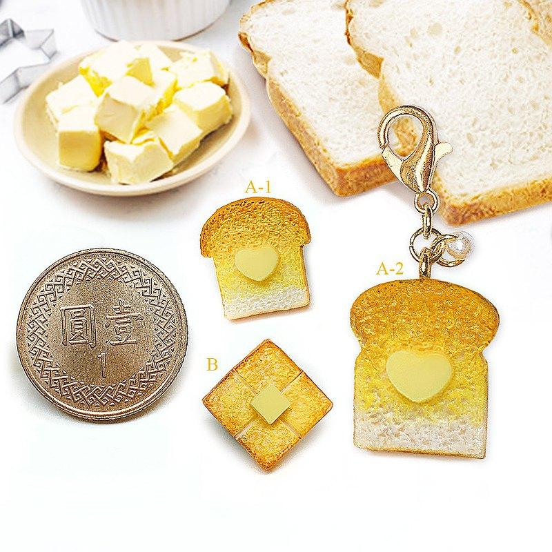 【微距食界】手作 烤吐司 蜂蜜奶油吐司 耳環(單一隻耳朵耳環)