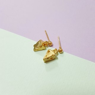 Mini Cheese mini gold cheese ear / ear clip handmade earrings Korea direct
