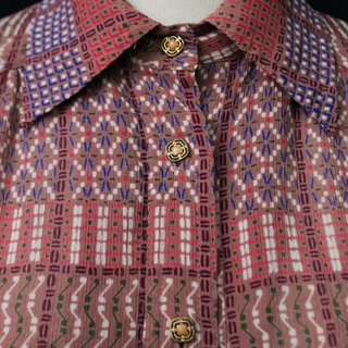 【RE0511T001】 Japanese-made geometric print pattern short-sleeved ancient shirt