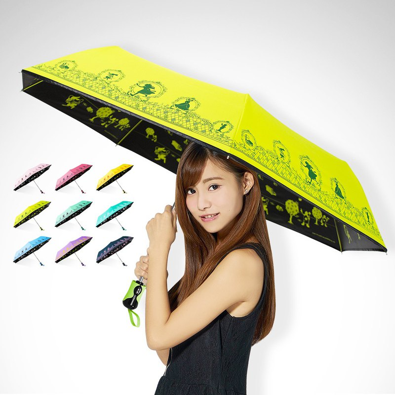 Ssangyong Alice cools 13 degrees anti-UV windproof black plastic automatic open umbrella