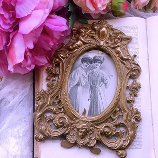 Gold and silver, British, British style, bronze, silver, British, small angel, handmade antique, picture frame, brass picture frame
