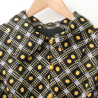 Made in Japan Retro 70s Dot Plaid Long Sleeve Black Vintage Dress Japanese Vintage Dress