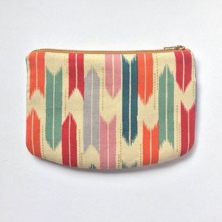 Japanese Arrows, Small Purse, Wallet, Zipper Pouch, Orange, Teal, Red
