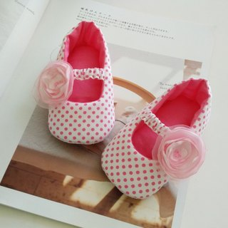 Pink yarn flower births gift doll shoes Baby Shoes