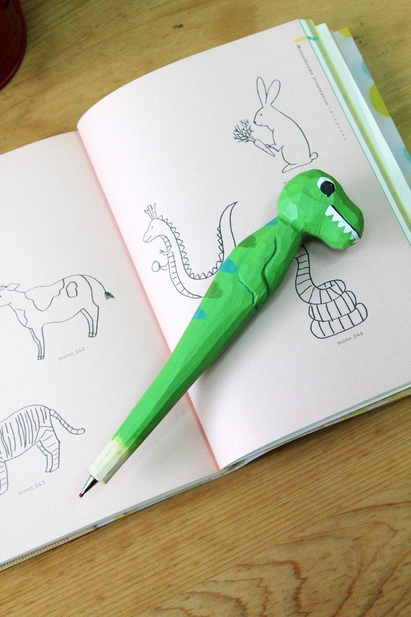英國進口手工木頭雕刻恐龍造型黑色原子筆