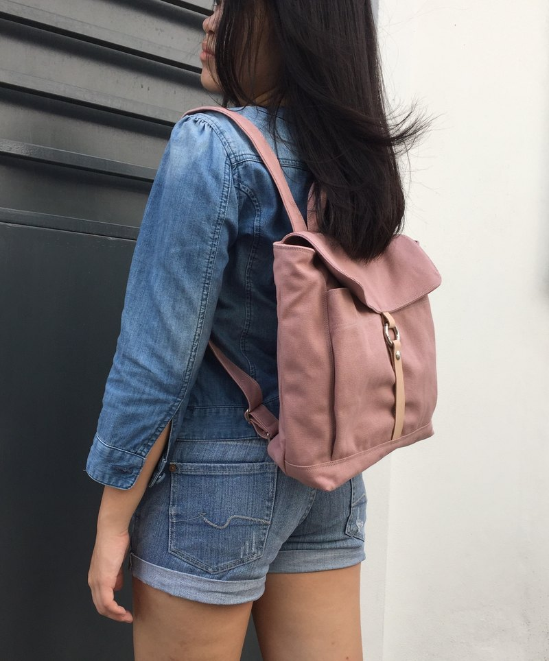 Pale Pink Backpack / leather strap canvas backpack /Small Tanya (no.102S)