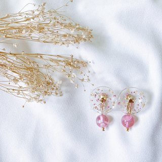 Pinball cherry bubble hand made dry flower earring ear clip / ear pin