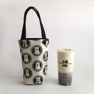 Canvas Polar Bear Double-sided Drinking Bag/Beverage Bag
