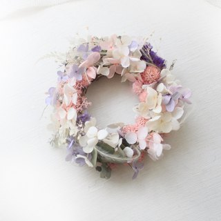Romantic Snow Country Colorful Wreath, White Pink Hydrangea Dry Flower Classic Flower Ceremony