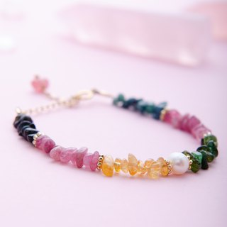 Tourmaline, Pearl, 14K Gold-plated Natural Gemstone Crystal Bracelet