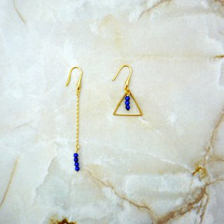 Geometric Asymmetry Blue Beads Light Earrings (Deep Blue)