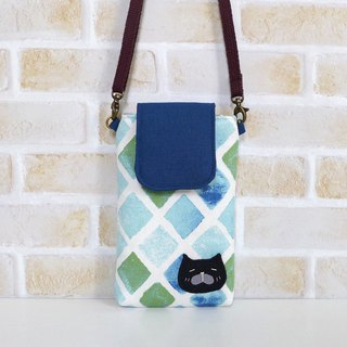 丫喵Mobile phone bag - blue small compartment (with strap)