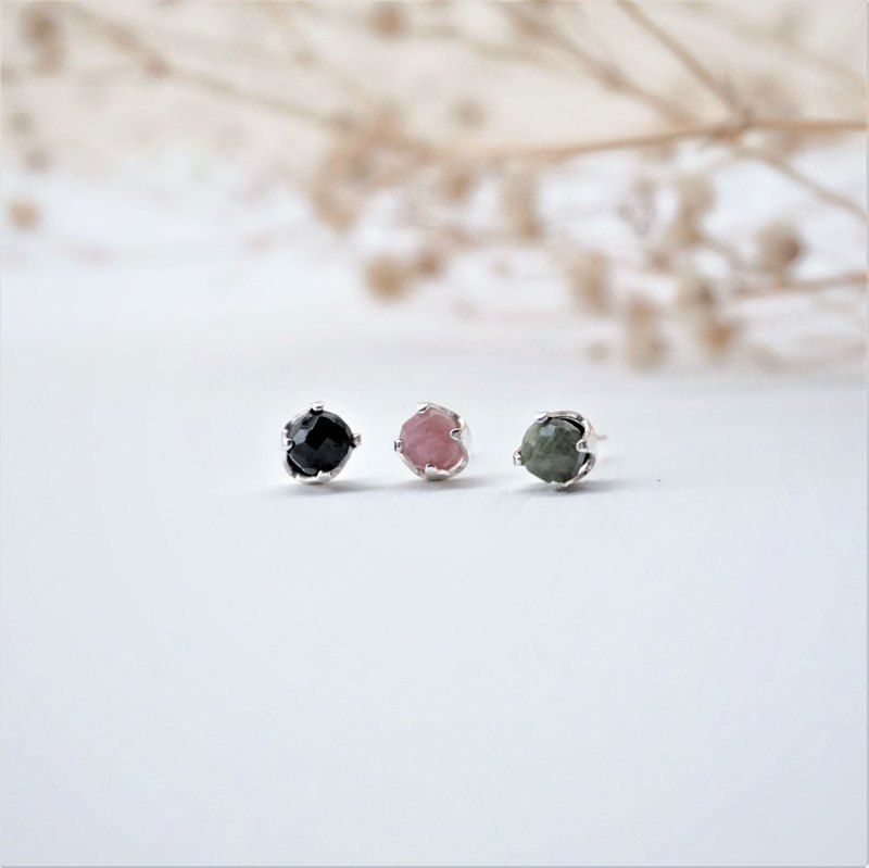 ll Natural ore ear needles ll Three-color tourmaline - 925 silver ear needle earrings / pair with white ear buckle