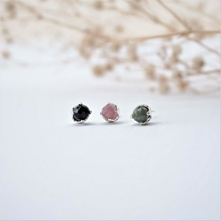 << Natural Auricular Auricular Needles - Three Colors Tourmaline >> Tourmaline Wish Stone 925 Sterling Silver Ear Studs