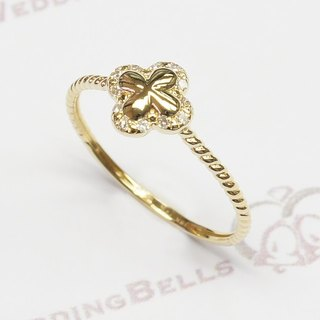 18K Yellow Gold / Diamond Twisted Band Ring / Lovely / cute (Free Shipping)