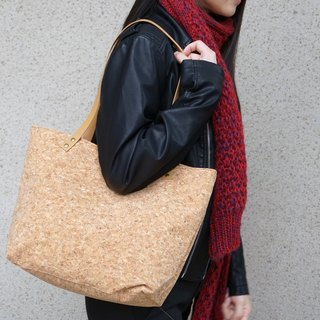 Vegan Cork Handbag Tote light wood, tote bag, vegan leather bag, canvas bag, leather strap, Market Bag, Teacher Bag