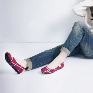 Soft-soled non-slip baby shoes - Plaid block - Cherry red