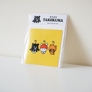 Octopus Bear Takokuma Square Small Card - Big Head Good Friend