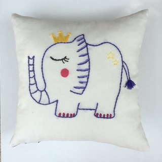 Pillow | Cushion - Shy elephant hand-embroidered cotton original design