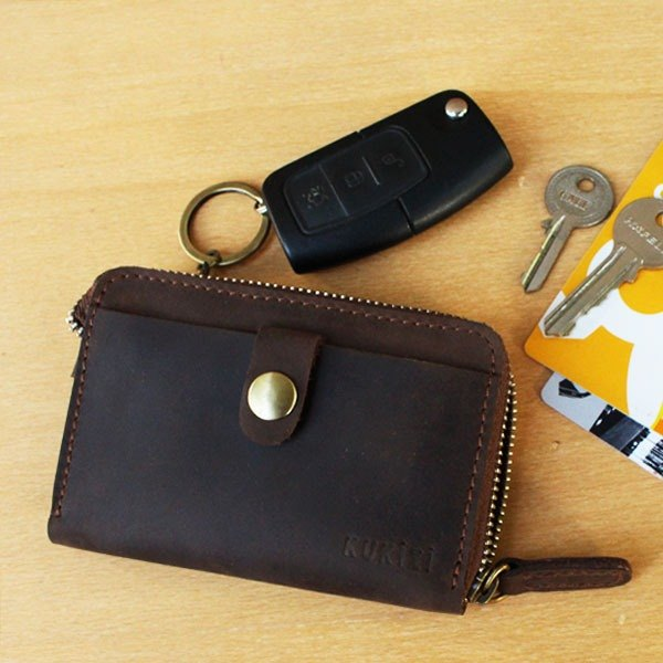 Key Case - F1 (Dark Brown) / Key Holder / Card case / Pass case (Cow Leather)