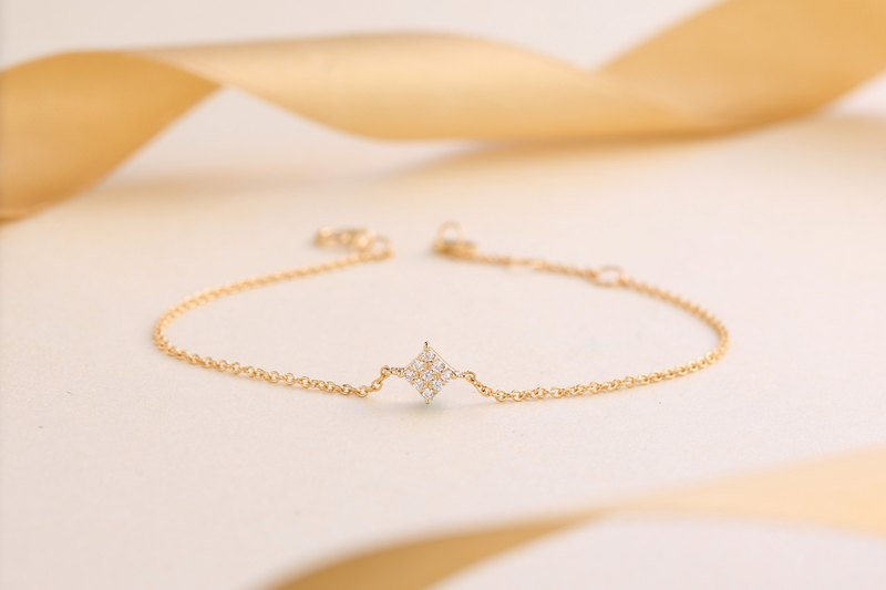 【輕珠寶】純18K金簡約菱形鑽石手鏈 客製化珠寶訂製 B004