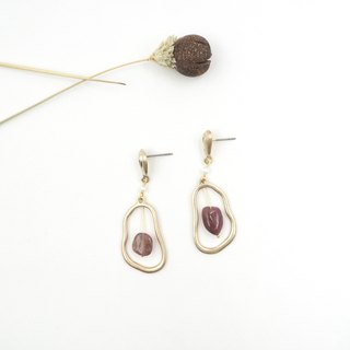 Design section. Red tourmaline irregular shape steel needle earrings