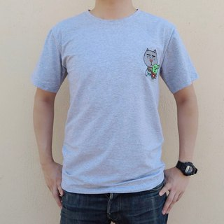 Embroidery T-shirt - Sweet Fat Cat With Cactus Baby