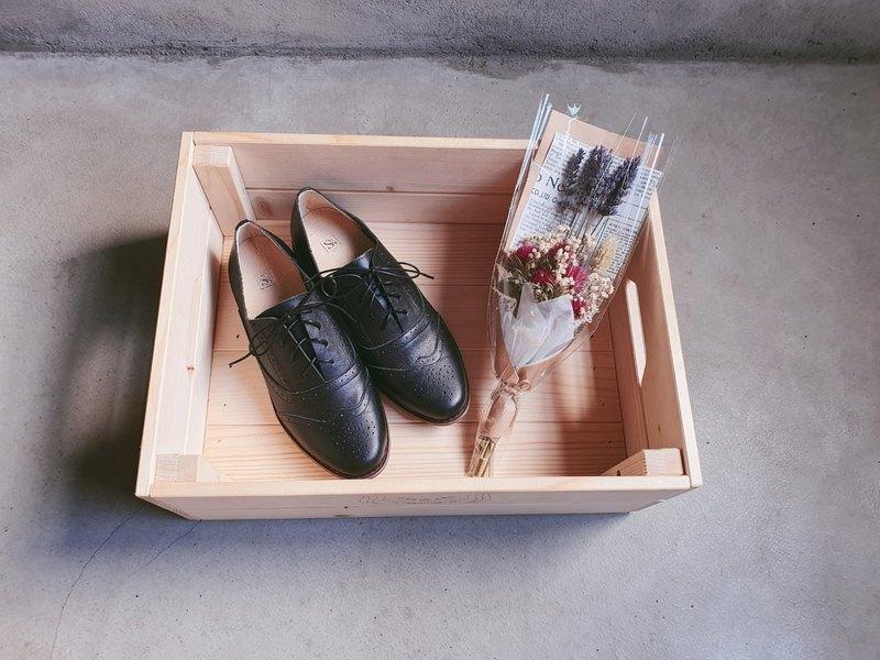 【小南法】兩穿雕花緞帶牛津鞋_神秘黑 | 手工訂製 | MIT
