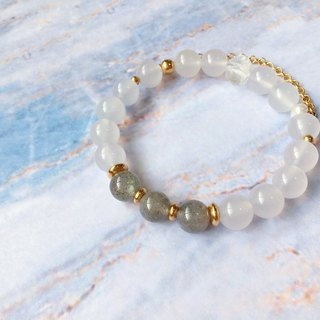 [Little Surprise] white agate labradorite white crystal pearl brass bracelet