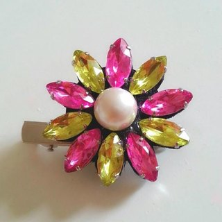 Pink & hair clip of yellow Bijou × 1 grain Pearl
