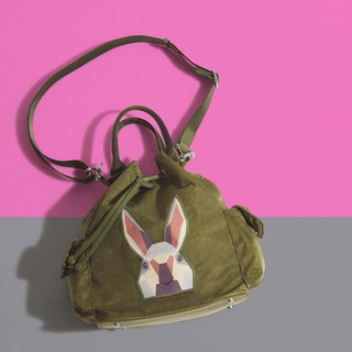 Khieng Atelier Diamond Rabbit Rabbit diamond shoulder bucket bag - olive green