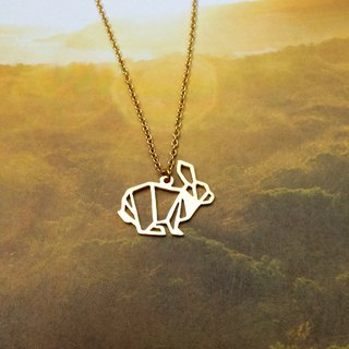 Sitting Rabbit, Origami Necklace, Animal Necklace, Gold Plated Necklace, Rabbit gifts, Gift for her