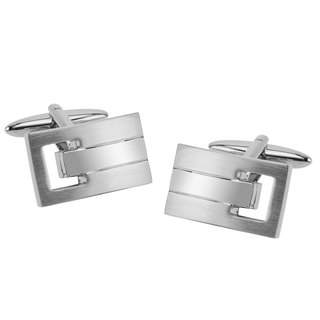 Shiny and Brushed Silver Vented Cufflinks
